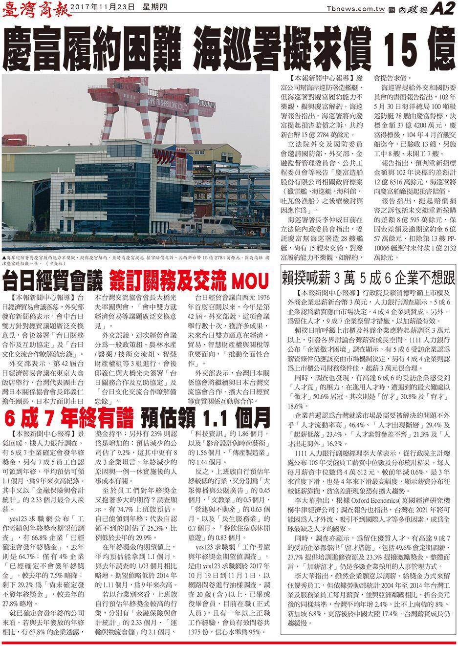 慶富履約困難 海巡署擬求償 15 億