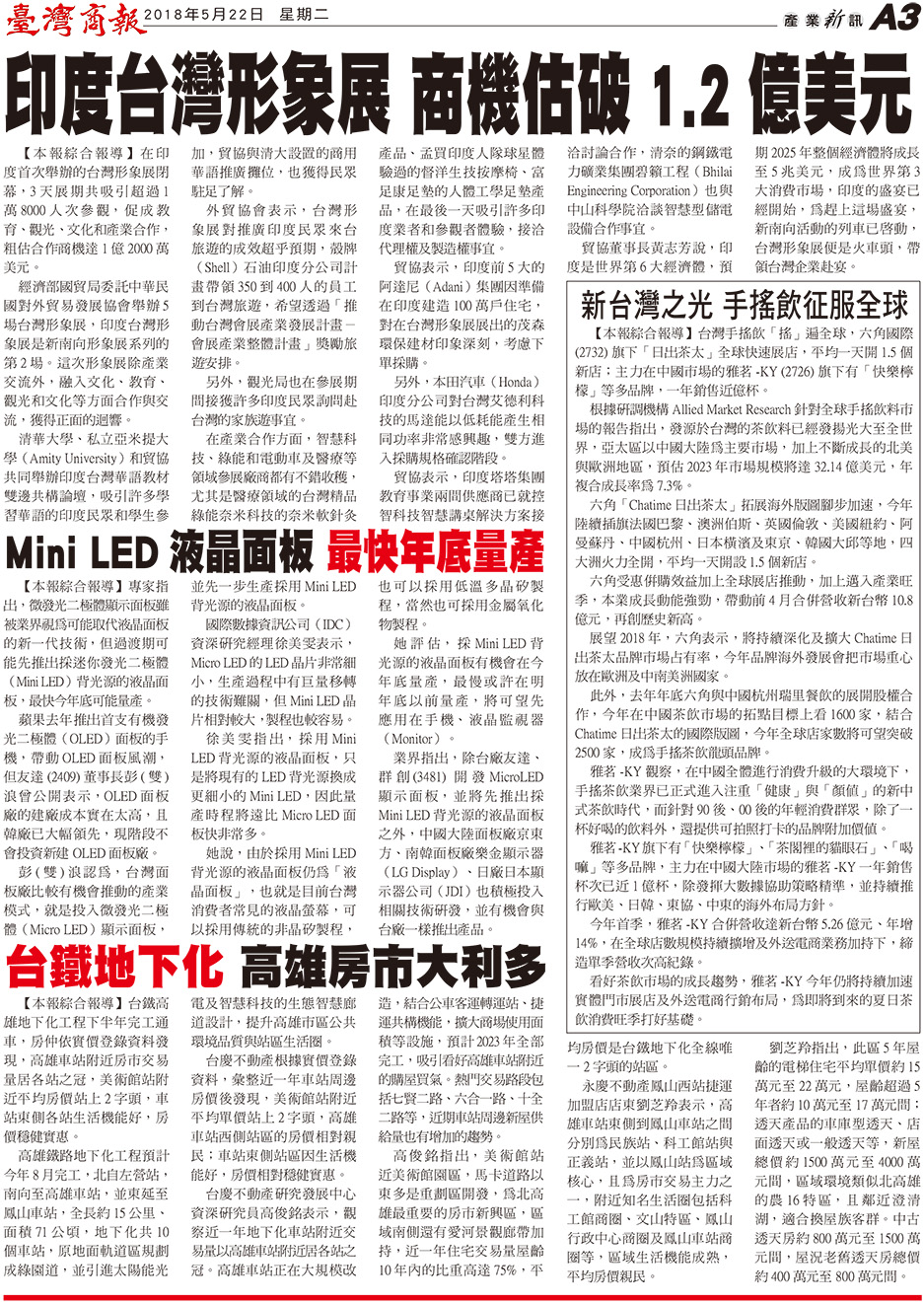 印度台灣形象展 商機估破 1.2 億美元