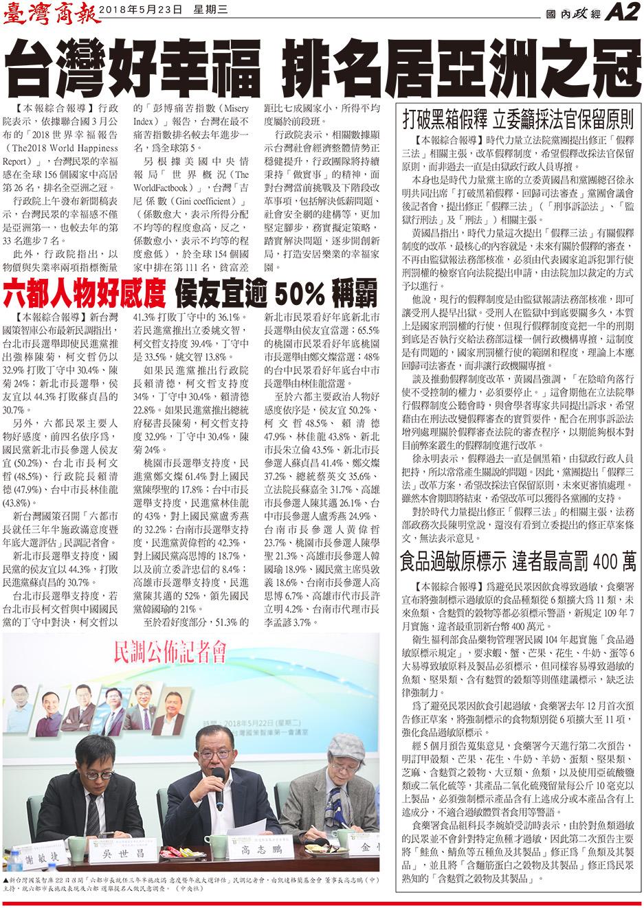 台灣好幸福 排名居亞洲之冠