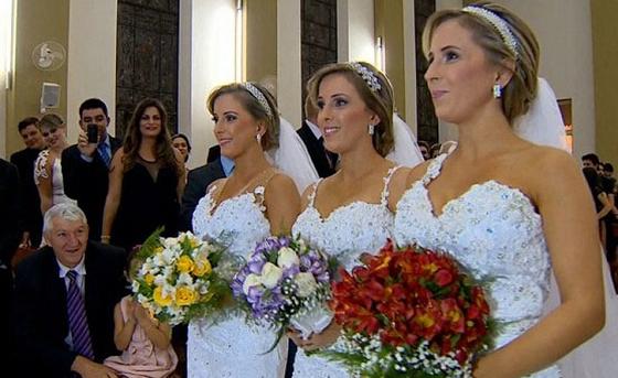 巴西三胞胎姊妹同天嫁 新郎都怕認錯