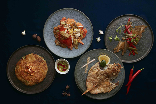 櫻花蝦南瓜烙餅、丁香涼瓜處女蟳、燒烤脆鱗紅喉魚、剝皮椒曼波魚涼粉