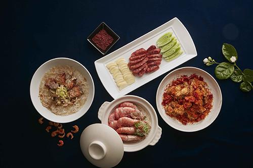 紅麴鰻魚手工香腸、紅露沙鍋熗甜蝦、酥炸白帶魚米粉湯、脆椒蒜酥鮟鱇魚