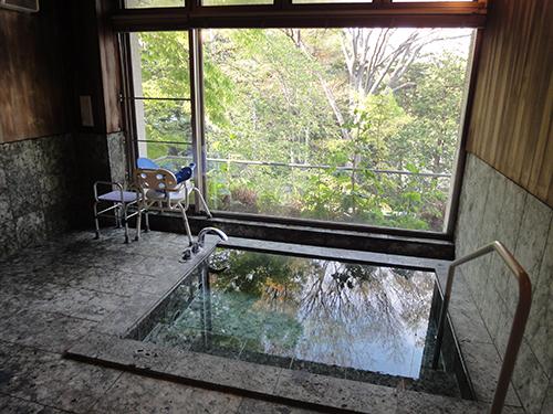 浴室大面積落地開窗,引進自然景色