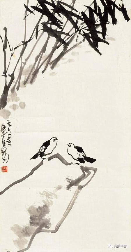 1Lot:0153 竹石雙鳥 許麟廬