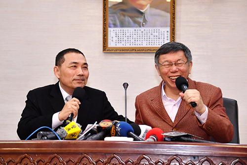新北市市長侯友宜與台北市長柯文哲互談雙北交流