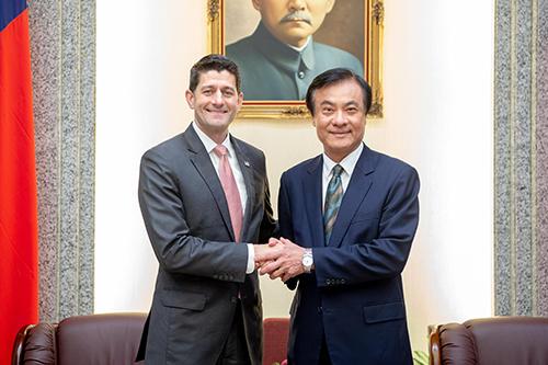立法院長蘇嘉全會見美國前眾議院議長萊恩(Paul Ryan)等一行
