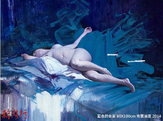 國際藝術家「梁君午」人物油畫:藍色的合奏