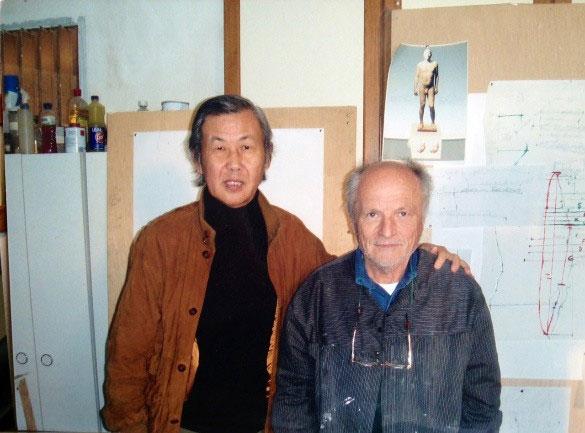國際藝術家「梁君午」與Antonio Lopez於馬德里畫室合影