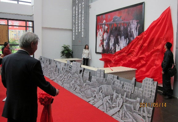 國際藝術家梁君午2011巨幅作品手於四川都江堰圖書館收藏