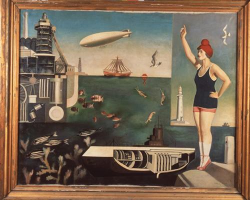 古賀春江__〈海〉 1929__油彩、畫布 111.2×145公分__東京國立近代美術館典藏