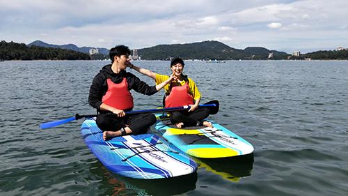 韓國網紅金多多首次旅行日月潭體驗立式划槳