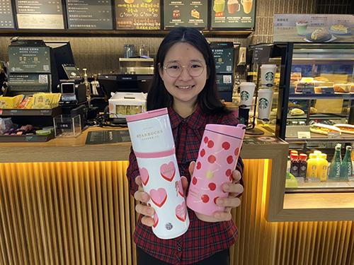 Global Mall新左營車站推星巴克超粉嫩的夢幻杯款,「愛情密語不鏽鋼杯」推薦價1,050元。