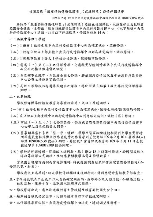校園因應「嚴重特殊傳染性肺炎」(武漢肺炎)疫情停課標準