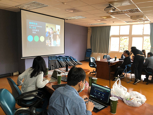 林口高中數學課發中心進行串流線上直播系統介紹