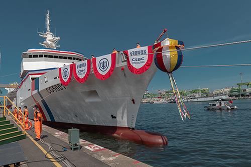 總統蔡英文主持海巡署4000噸級巡防艦首艦命名暨下水