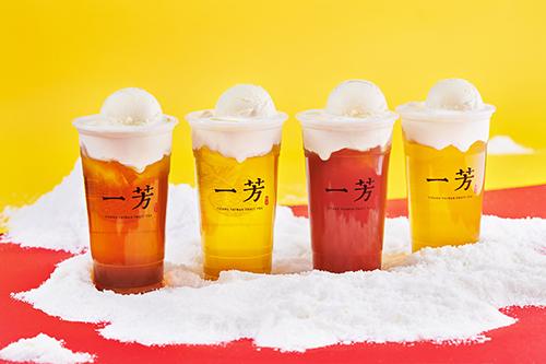 一芳x小美雪凍冰淇淋飲新品共5款 準備挑戰消費者的選擇障礙 圖為紅綠烏青4款原茶 搭配小美頂級香草冰淇淋