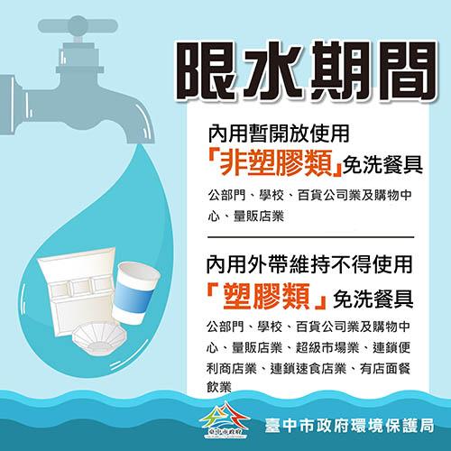 省水大作戰!台中市限水期間內用暫可供非塑膠免洗餐具