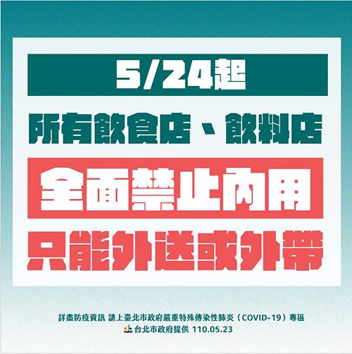 台北市發布新禁令 24日起餐飲、飲料店禁止內用一律外帶